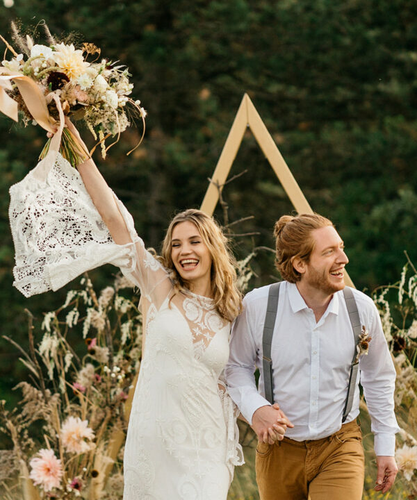 Boho Hochzeit goldenes Dreieck Backdrop